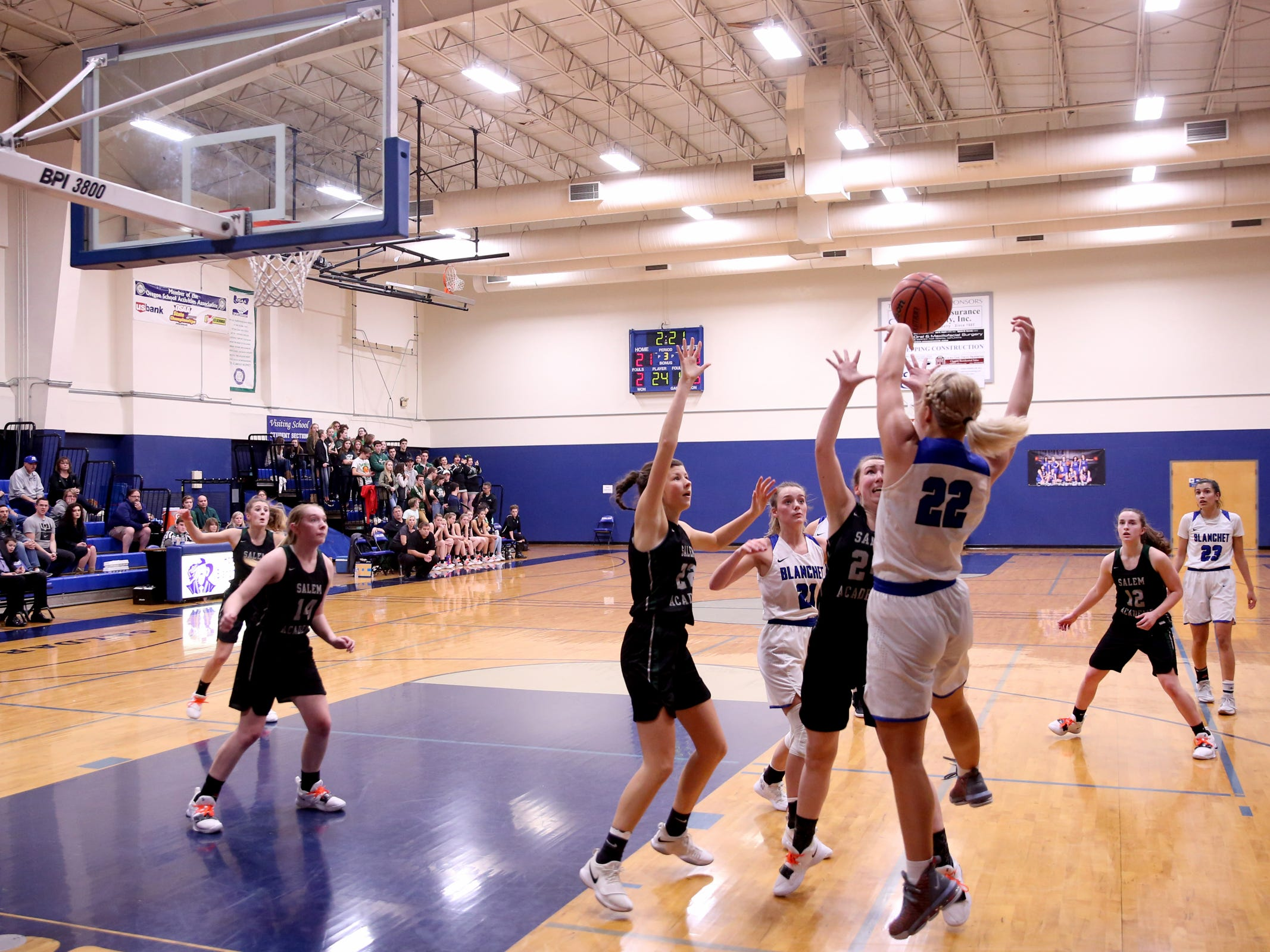 The second half of the Salem Academy vs. Blanchet Catholic girls basketball game at Blanchet Catholic School in Salem on Friday, Jan. 18, 2019. Blanchet Catholic won the gam 48-40.