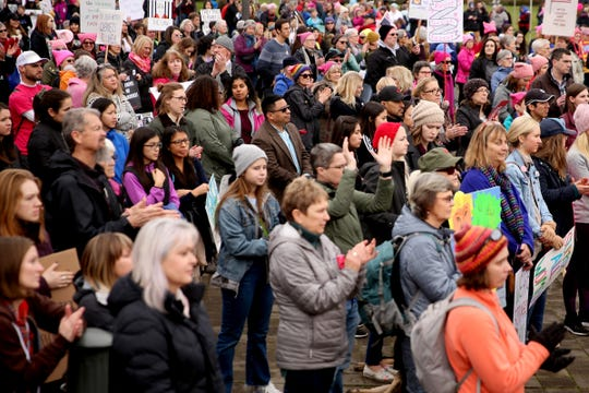 About 900 people attend Women's March Salem outside the Oregon State Capitol on Saturday, Jan. 19, 2019.