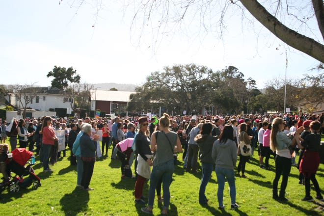 The 2019 Women's March in Monterey, Calif. began at the Colton House. Marchers met on the lawn.