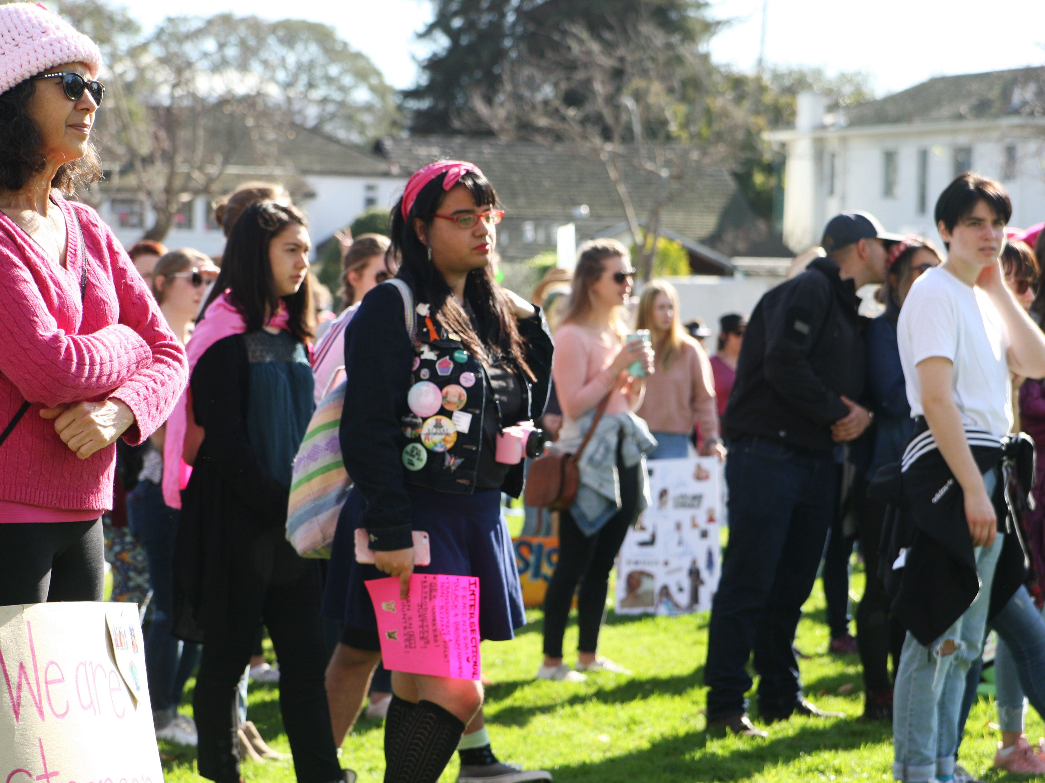 A shot of the crowd at the 2019 Women's March in Monterey, Calif.