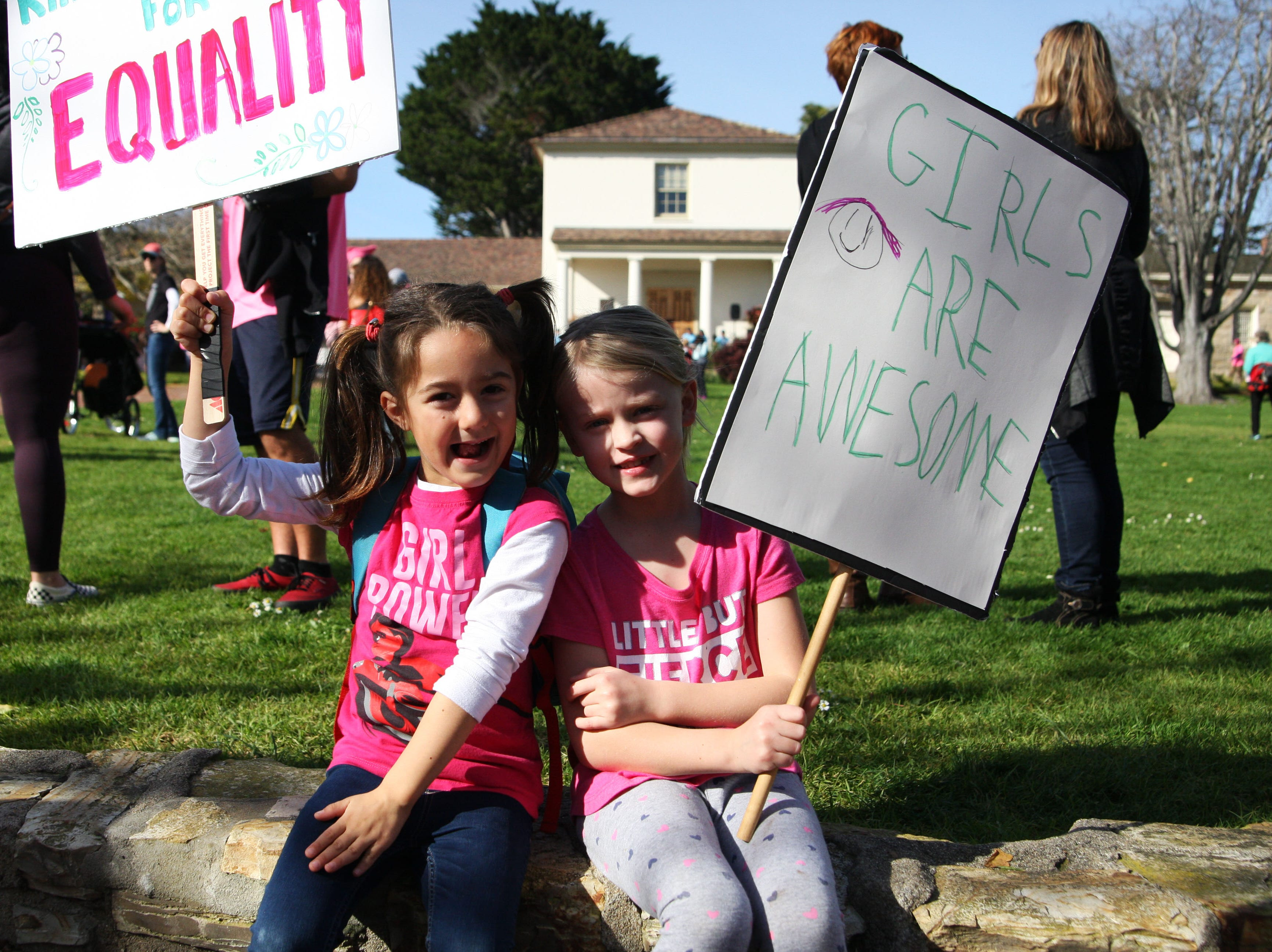 Penelope Rovick, age five and a half, and Lucy Lemon, age six and a quarter,  attended the 2019 Women's March Monterey alongside their mothers.