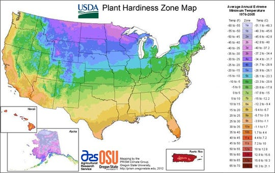 The USDA Plant Hardiness Zone Map is a useful tool to help determine what plants can survive the winter.