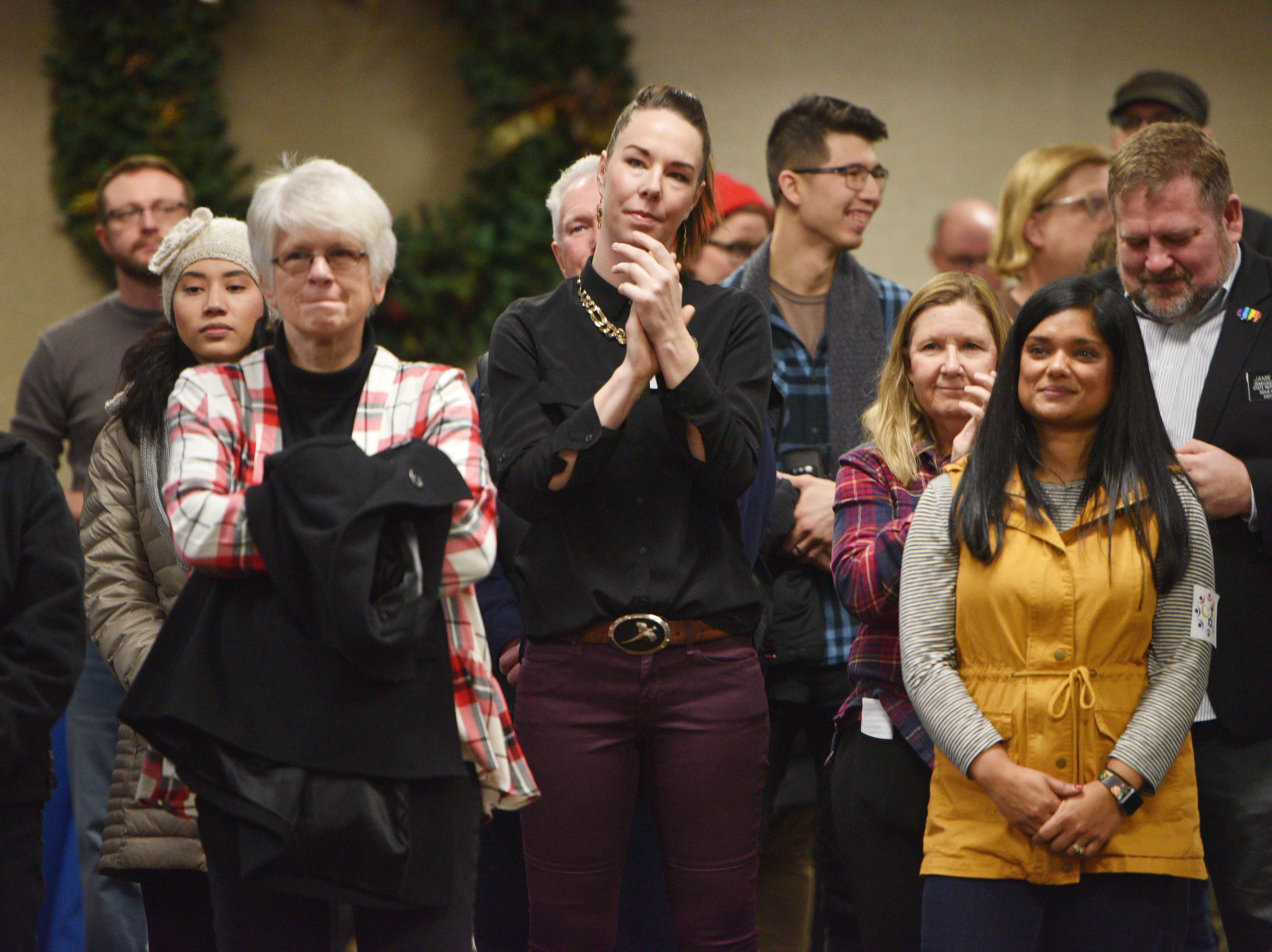 Representative Kelly Sullivan, center, is among the attendees at the Women's March Saturday, Jan. 19, at the Downtown Sioux Falls Holiday Inn-City Centre in Sioux Falls.