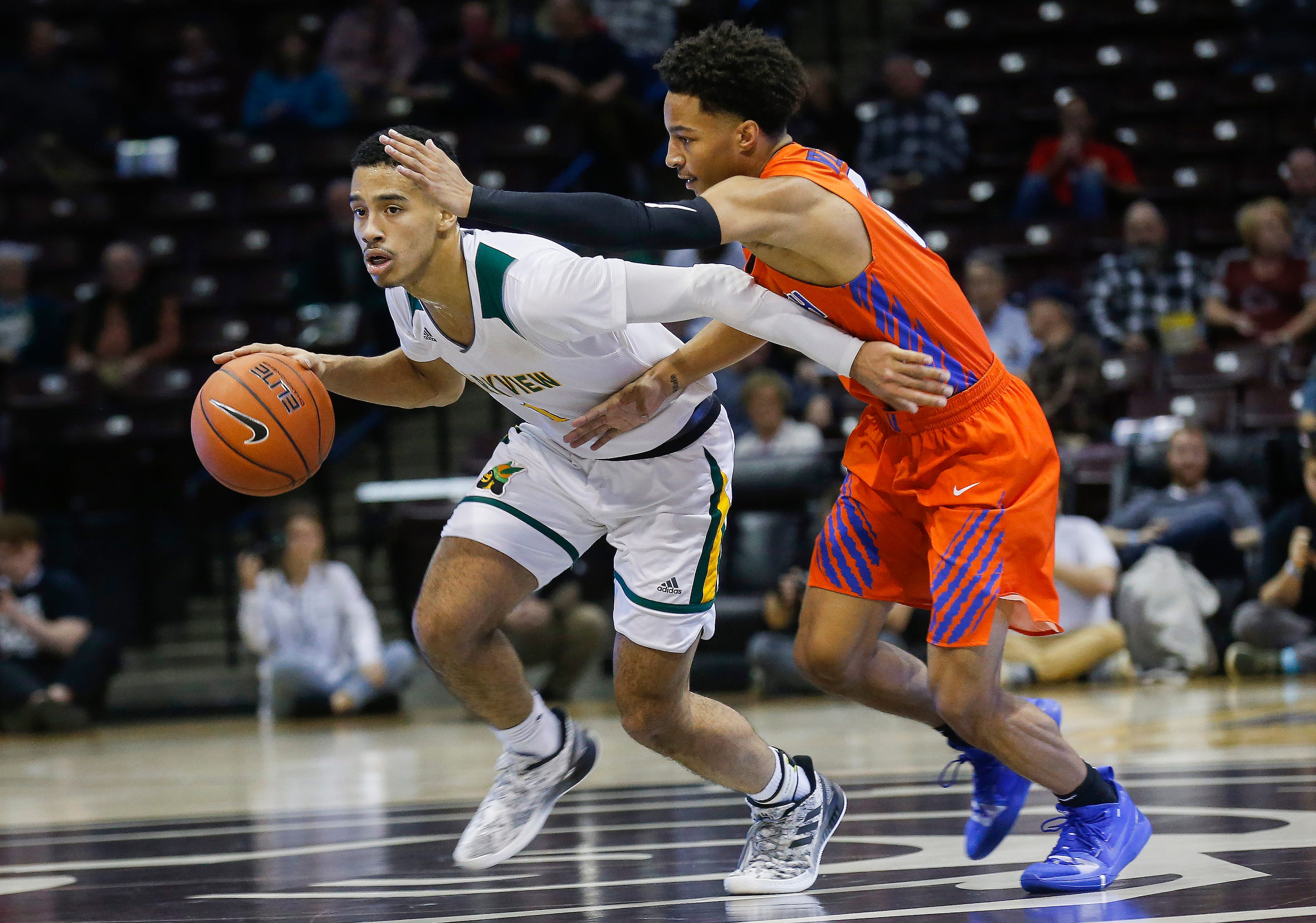 Dontae Taylor, of Parkview, brings the ball down the court during the Vikings' 75-46 loss to Rainier Beach in the Bass Pro Shops Tournament of Champions at JQH Arena on Friday, Jan. 18, 2019.