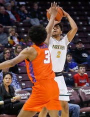 Nakai Johnson, of Parkview, puts up the shot during the Vikings' 75-46 loss to Rainier Beach in the Bass Pro Shops Tournament of Champions at JQH Arena on Friday, Jan. 18, 2019.