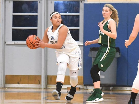 Robert E. Lee's Alayia Robinson looks to pass the ball during a game played in Staunton on Friday, Jan. 18, 2019.