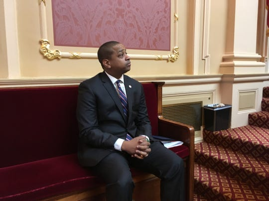 Virginia Lt Gov. Justin Fairfax, a Democrat, stepped off the rostrum in the Virginia Senate as a member paid tribute to Confederate Gen. Robert E. Lee on Friday, Jan.18, 2019, in Richmond.
