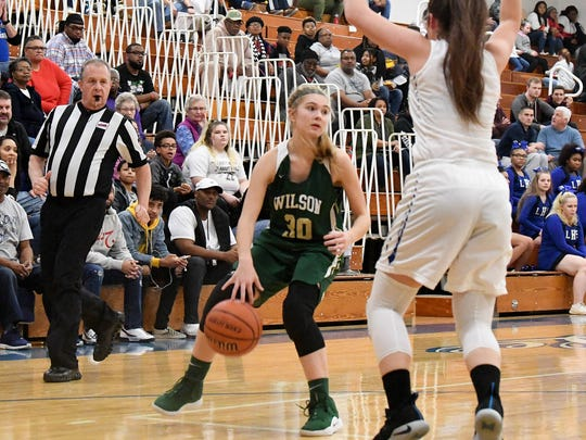 Wilson Memorial's Korinne Baska has the ball during a game played in Staunton on Friday, Jan. 18, 2019.