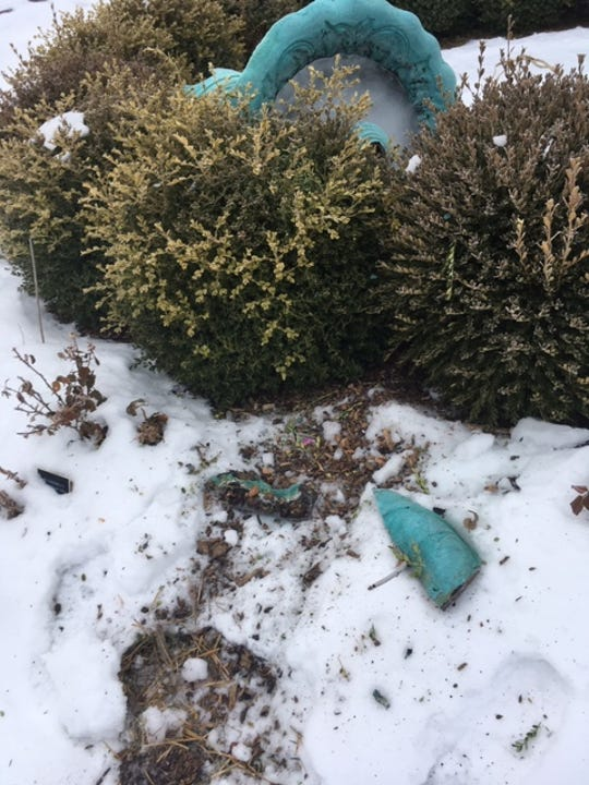 St. Cloud police say roughly $20,000 in damage was caused when thieves tried to steal parts of two fountainsat Clemens Gardens sometime in January 2019. Staff from the St. Cloud Parks Department told police someone damaged the Jenny Crane fountain when they attempted to cut it from its base. Surrounding brush was also damaged.