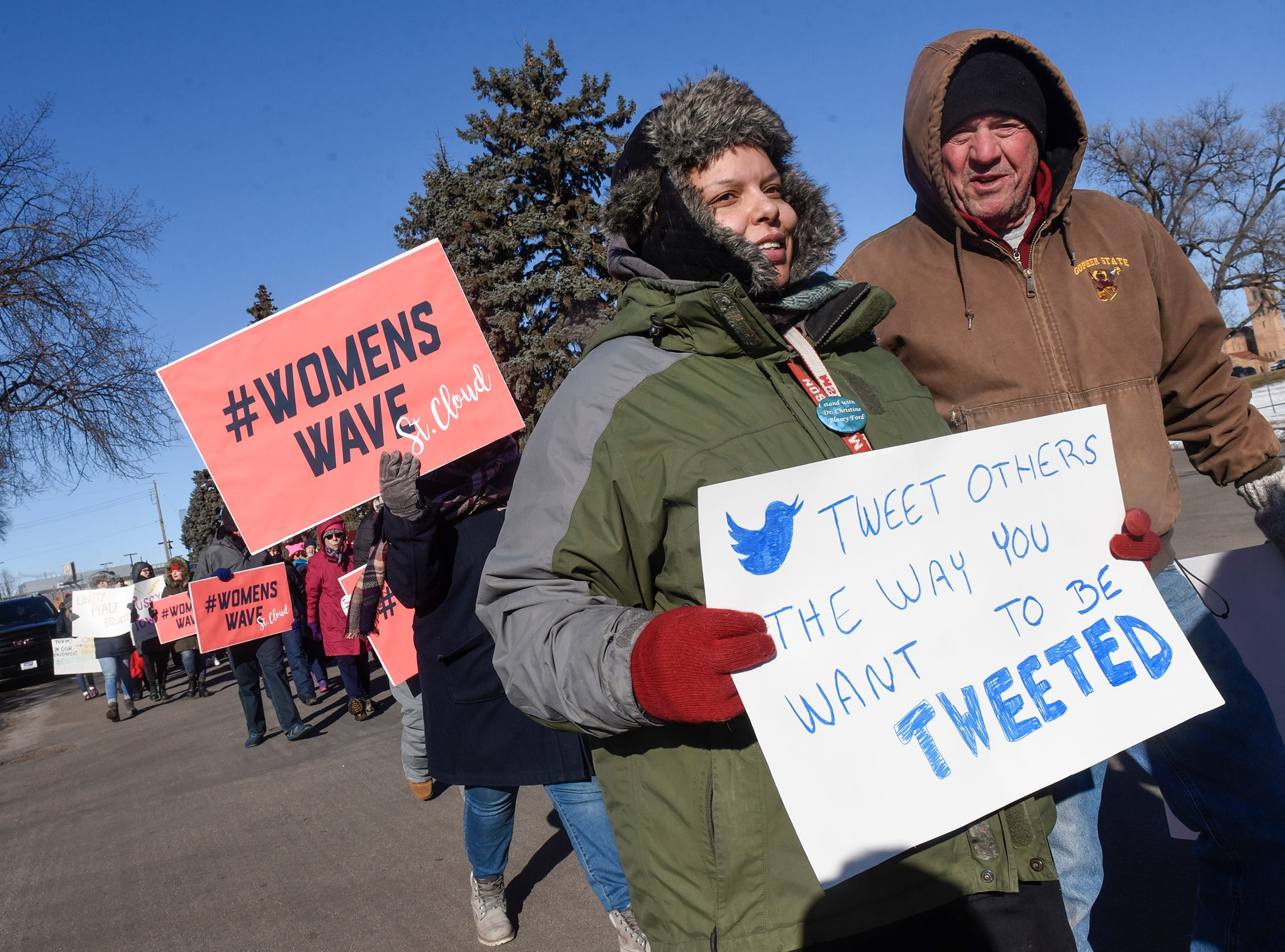 Cold temperatures didn't stop many from participating in  the WomensWave march Saturday, Jan. 19, in St. Cloud.