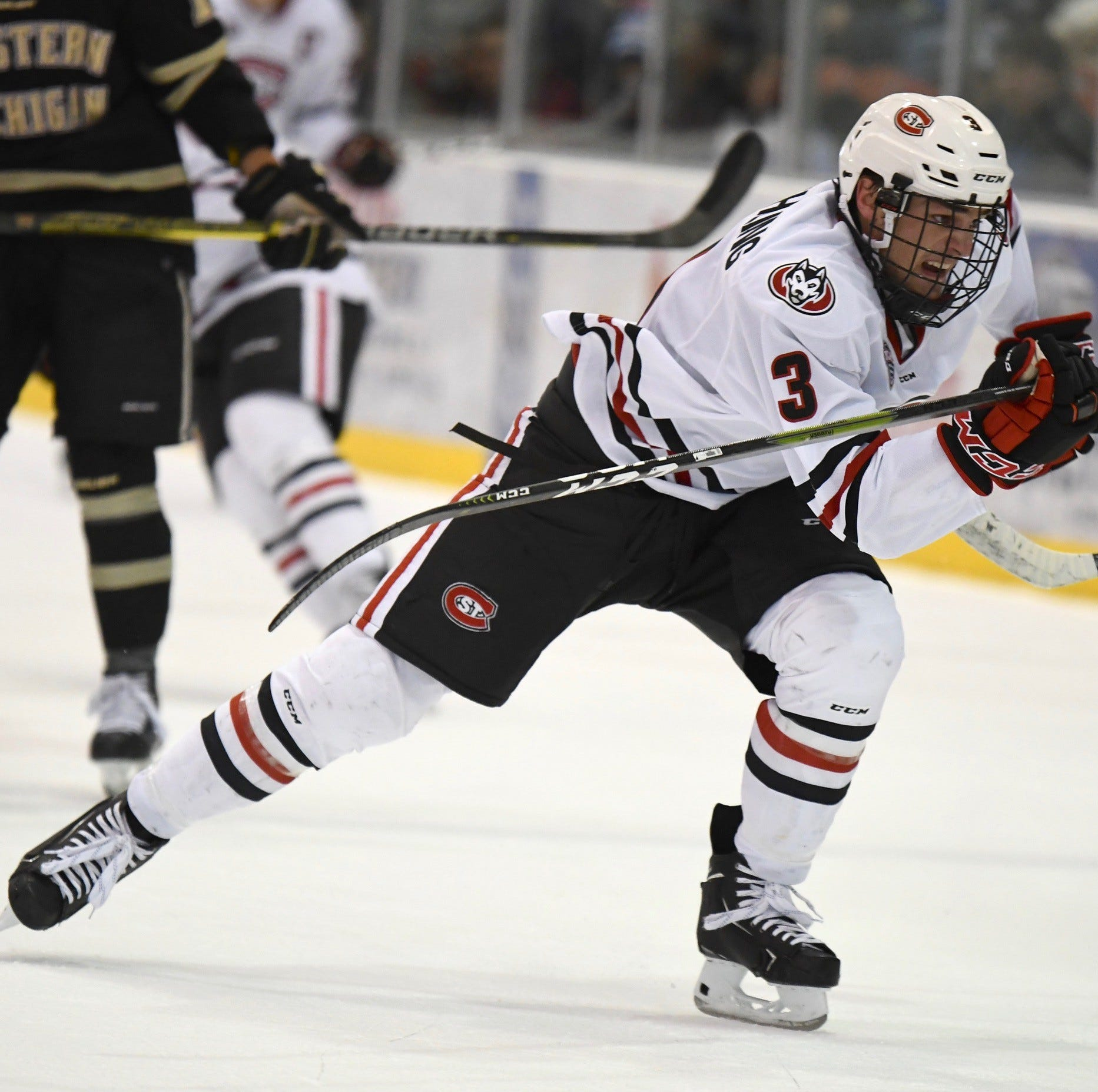 St. Cloud State junior forward Jack Poehling hustles after the puck against Western Michigan at the Herb Brooks National Hockey Center.