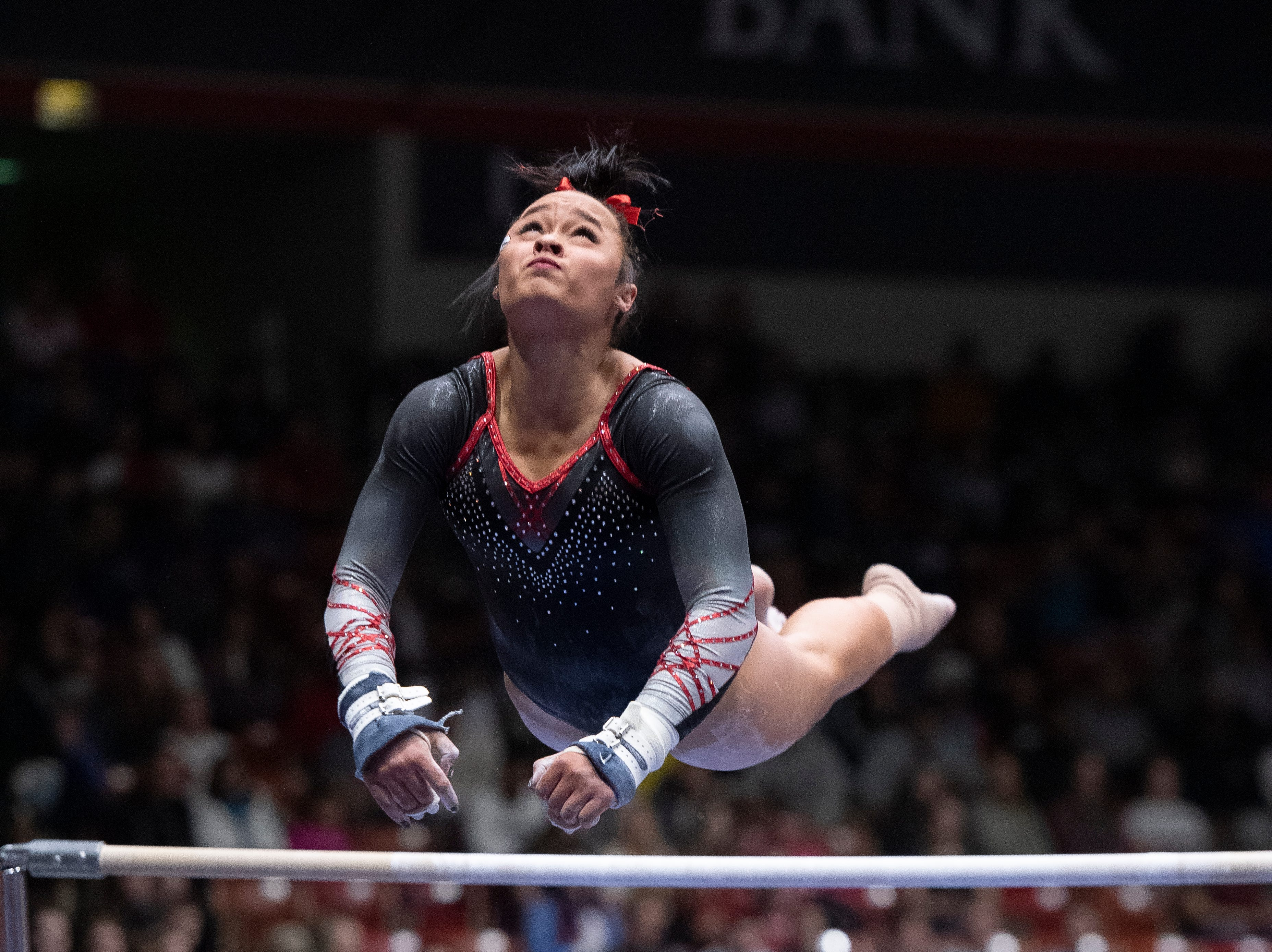 Southern Utah University freshman Karley McClain competes against Boise State at the America First Event Center Friday, January 18, 2019.