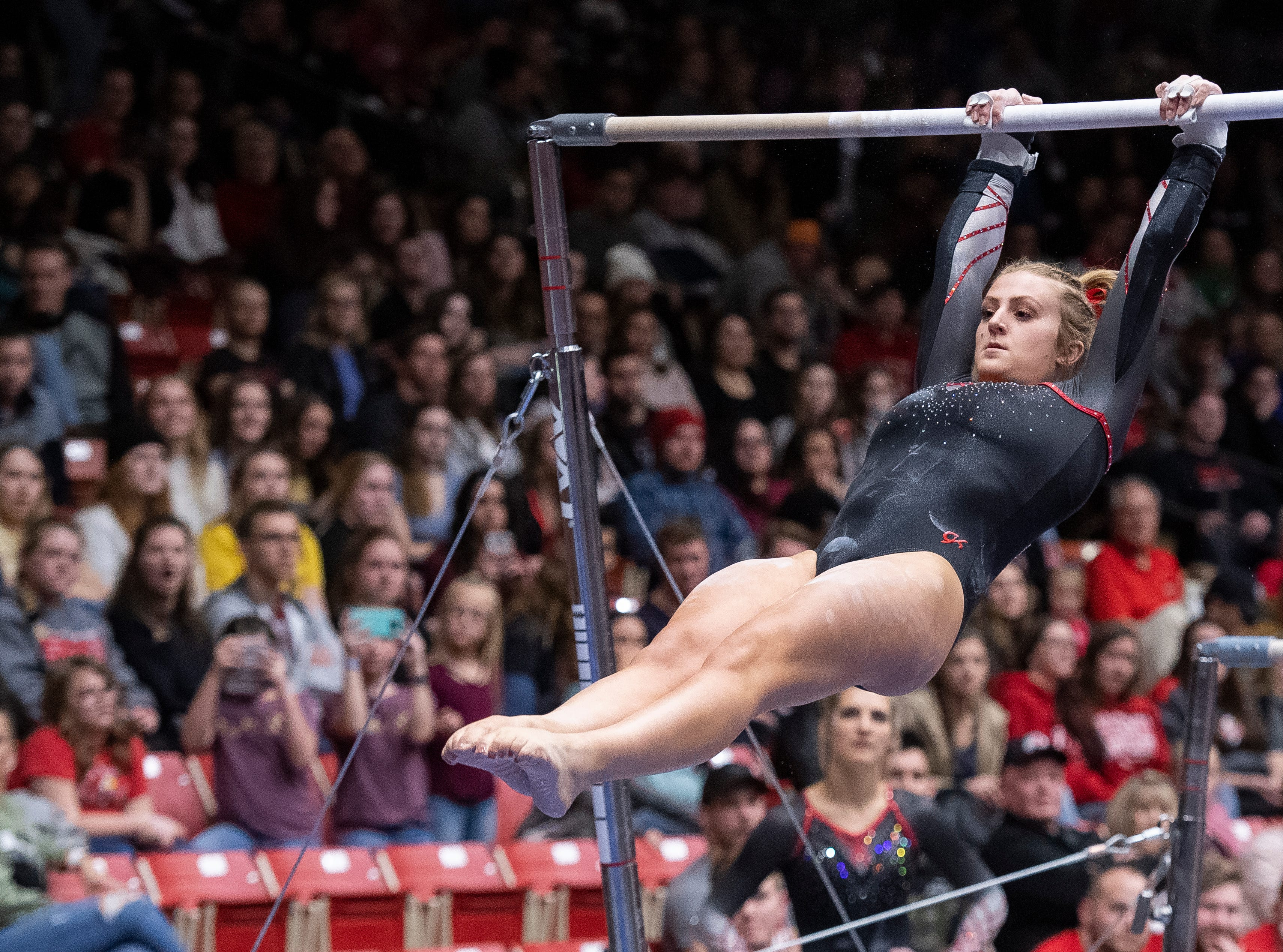 Southern Utah University junior Autumn Jorgensen competes against Boise State at the America First Event Center Friday, January 18, 2019.