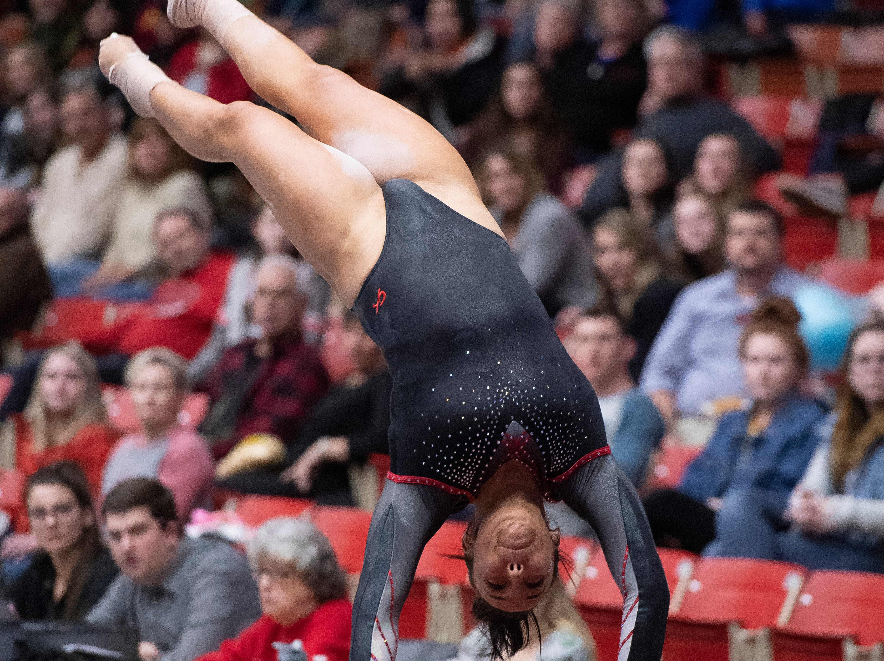 Southern Utah University sophomore Morgan Alfaro competes against Boise State at the America First Event Center Friday, January 18, 2019.