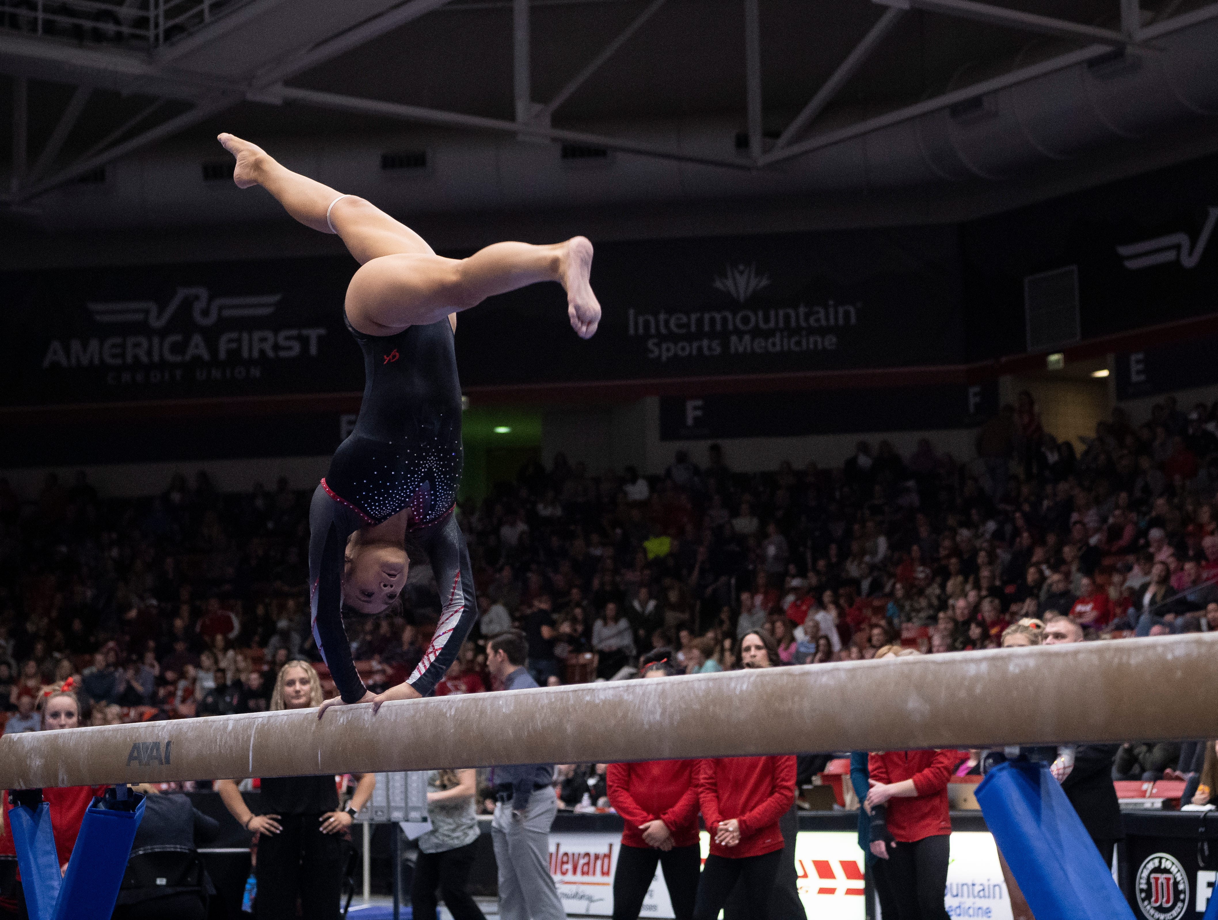 Southern Utah University sophomore Hannah Nipp competes against Boise State at the America First Event Center Friday, January 18, 2019.