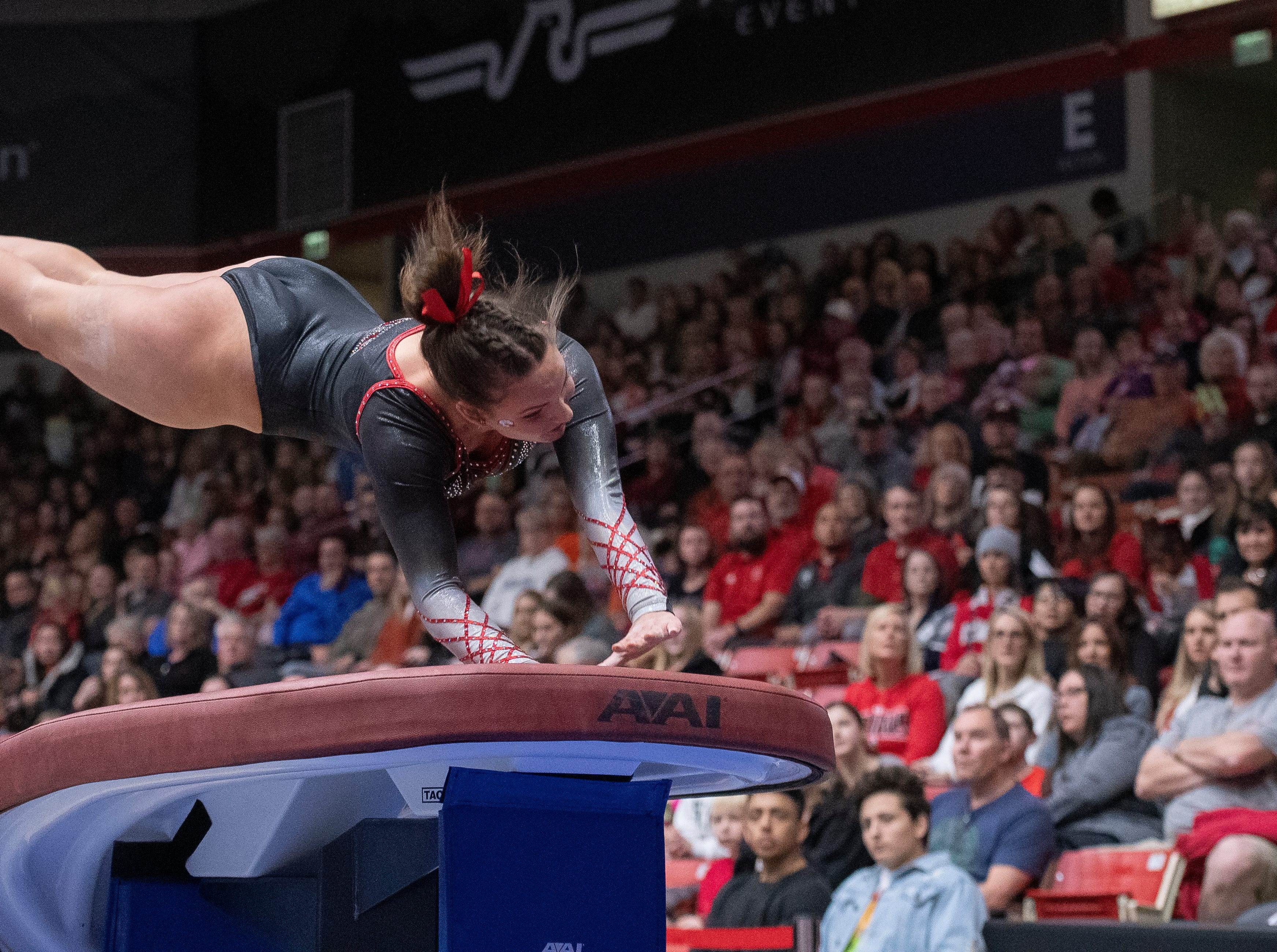 Southern Utah University freshman Rachel Smith competes on the vault against Boise State at the America First Event Center Friday, January 18, 2019.