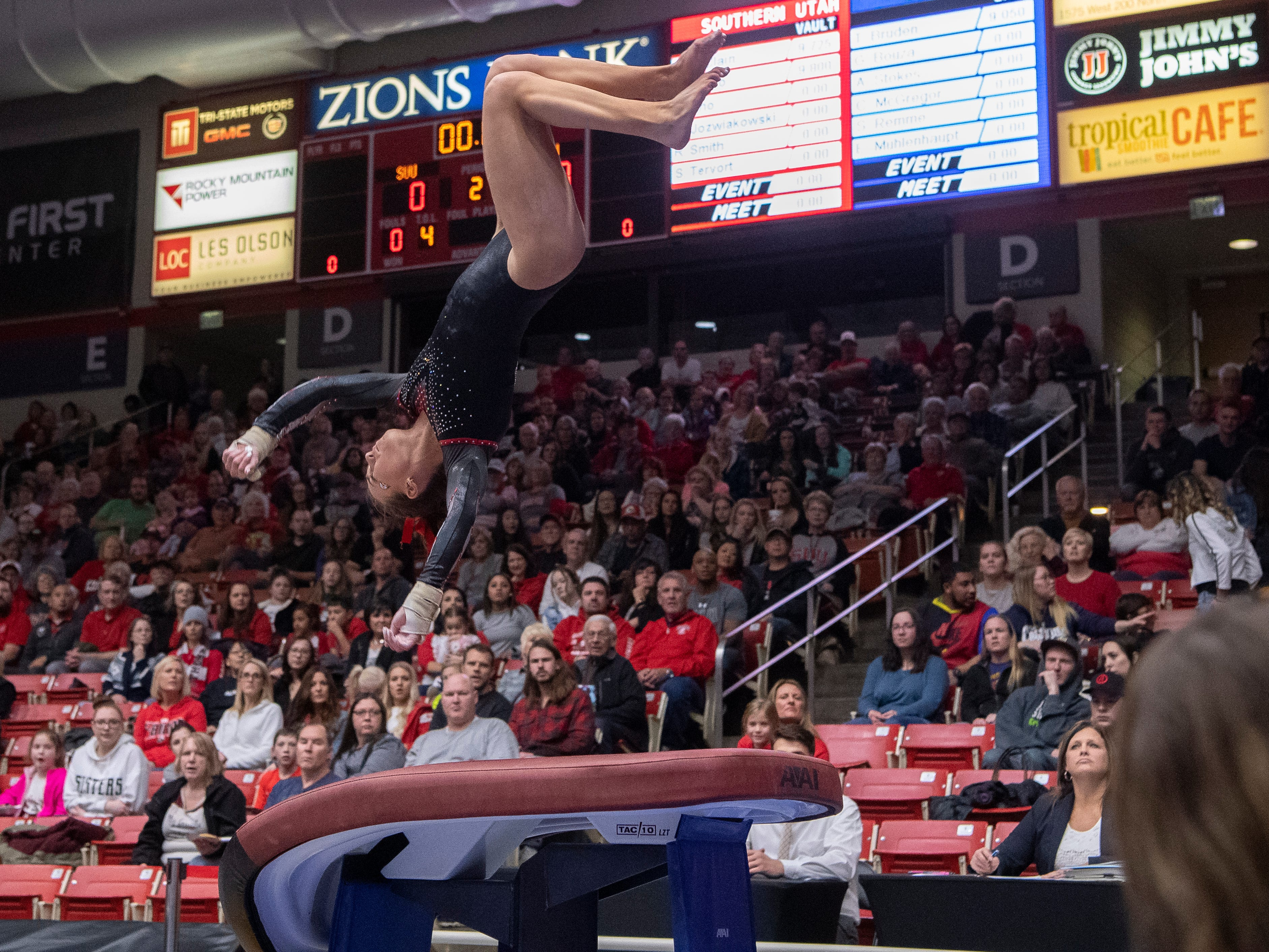 Southern Utah University sophomore Molly Jozwiakowski competes against Boise State at the America First Event Center Friday, January 18, 2019.