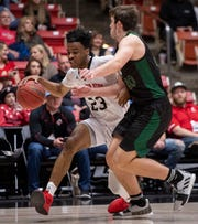 Southern Utah University junior guard Cameron Oluyitan (23) scored 21 points against Sacramento State during the Thunderbirds' 76-71 over Sacramento State on Jan. 19, 2019.