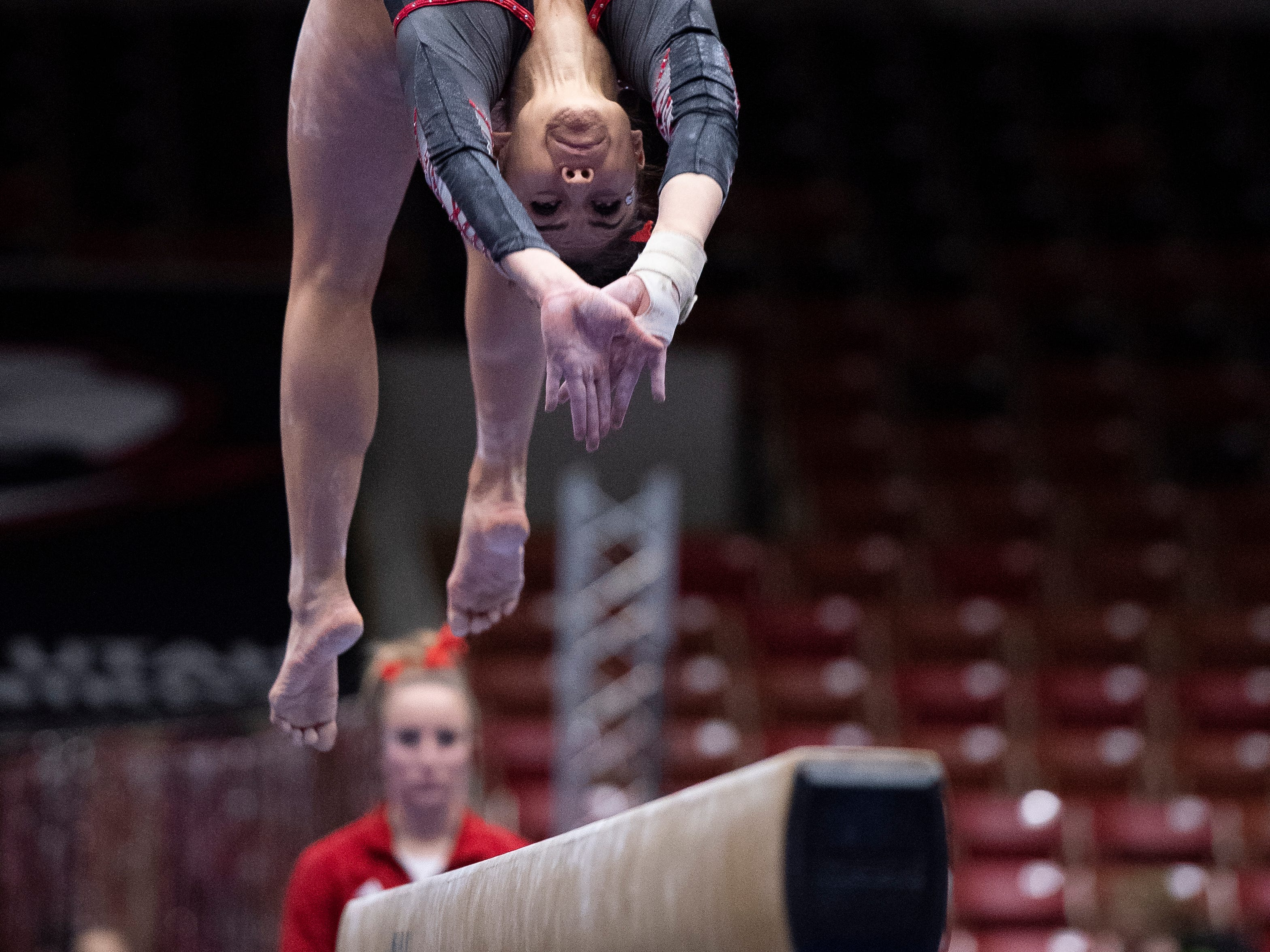 Southern Utah University senior Karen Gonzalez competes against Boise State at the America First Event Center Friday, January 18, 2019.