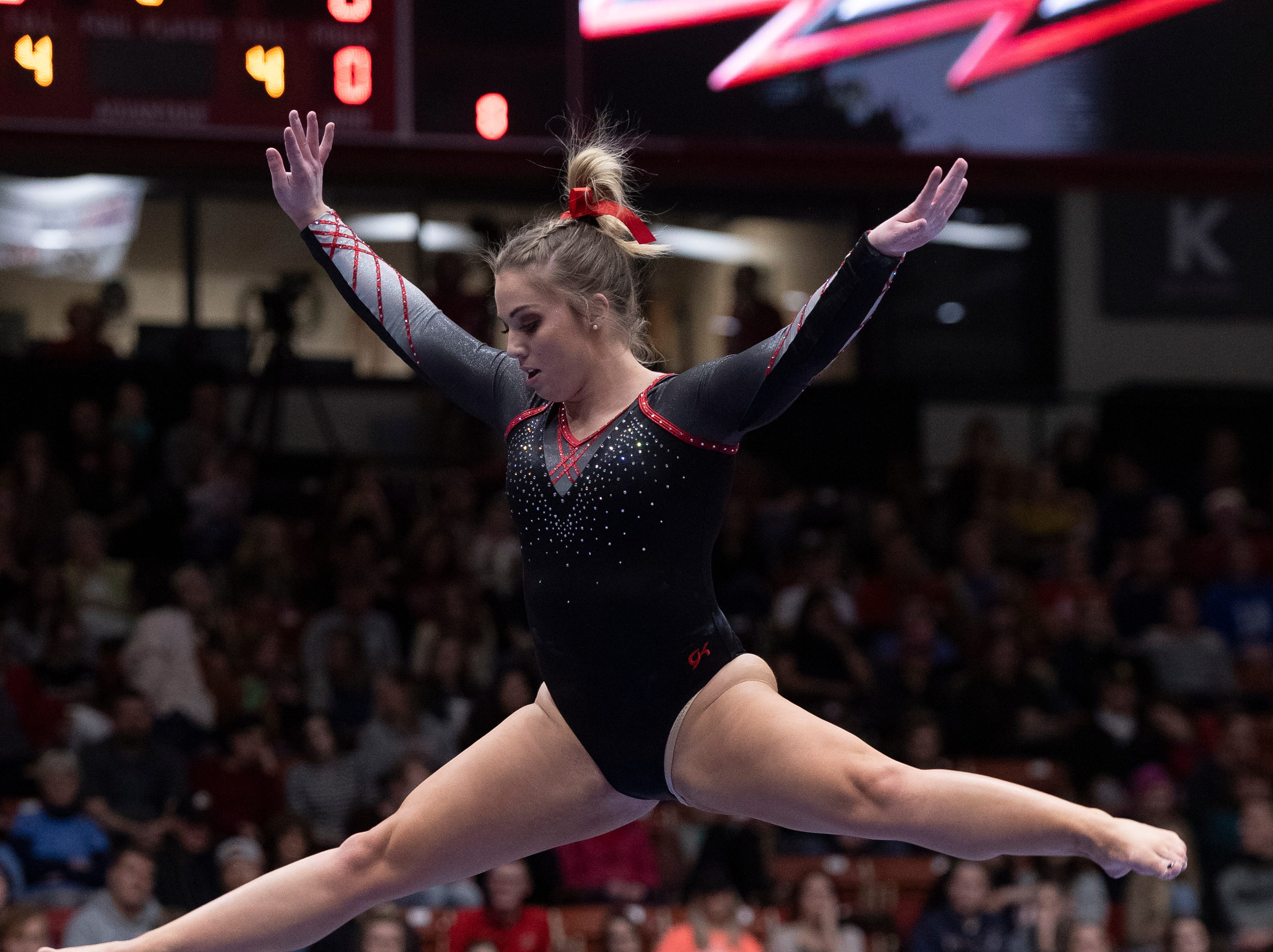 Southern Utah University sophomore Alyssa LaDieu competes against Boise State at the America First Event Center Friday, January 18, 2019.