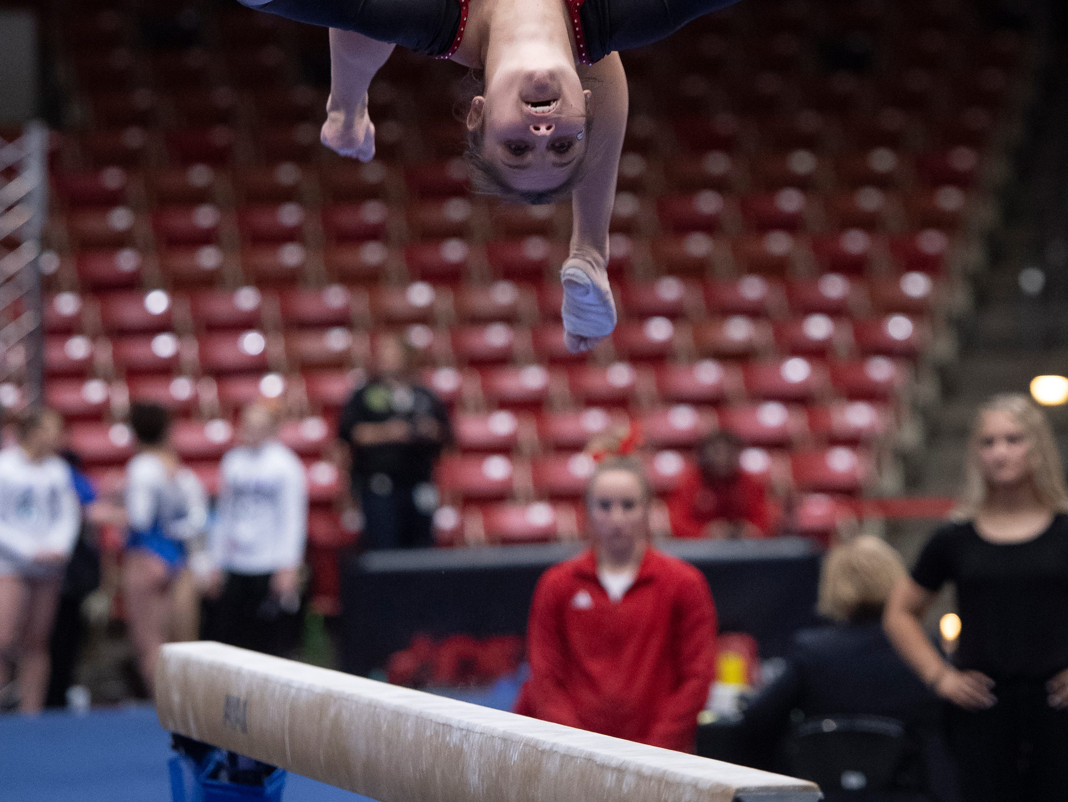 Southern Utah University senior Kamryn Bayer competes against Boise State at the America First Event Center Friday, January 18, 2019.