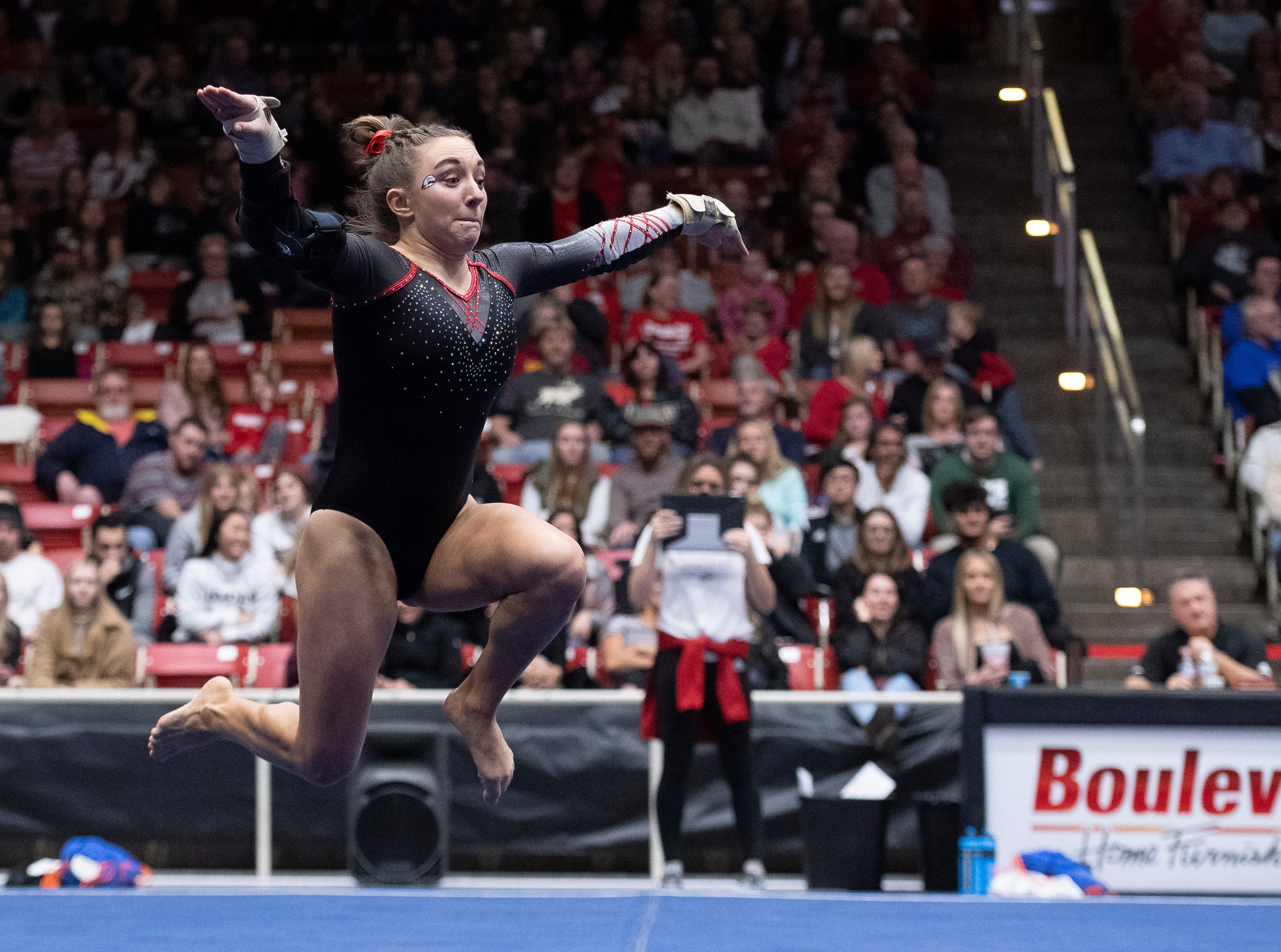 Southern Utah University junior Madison McBride competes against Boise State at the America First Event Center Friday, January 18, 2019.