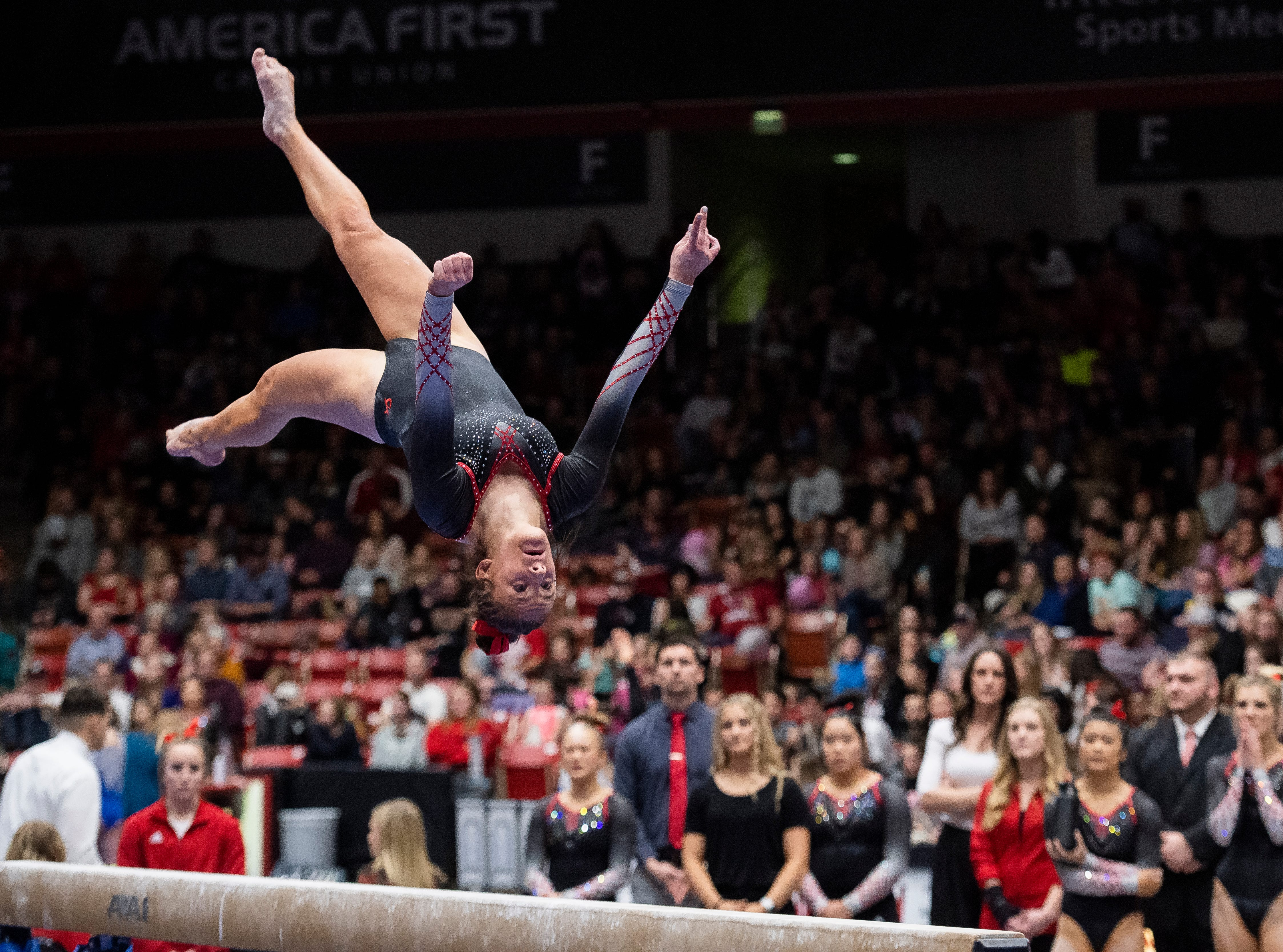 Southern Utah University freshman Emma Wissman performs on the balance beam against Boise State at the America First Event Center Friday, January 18, 2019.
