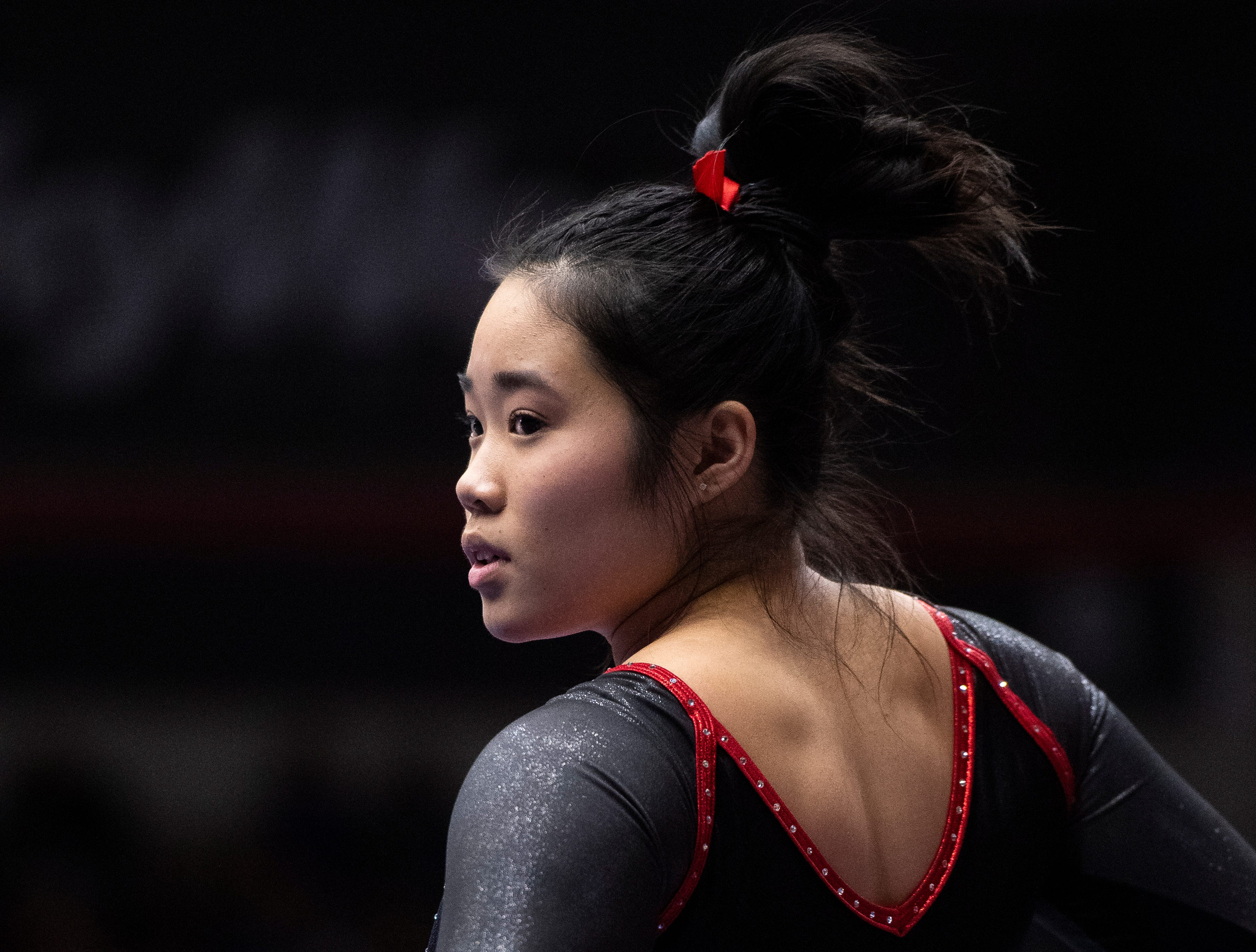 Southern Utah University freshman Caitlin Kho prepares for her floor routine against Boise State at the America First Event Center Friday, January 18, 2019.