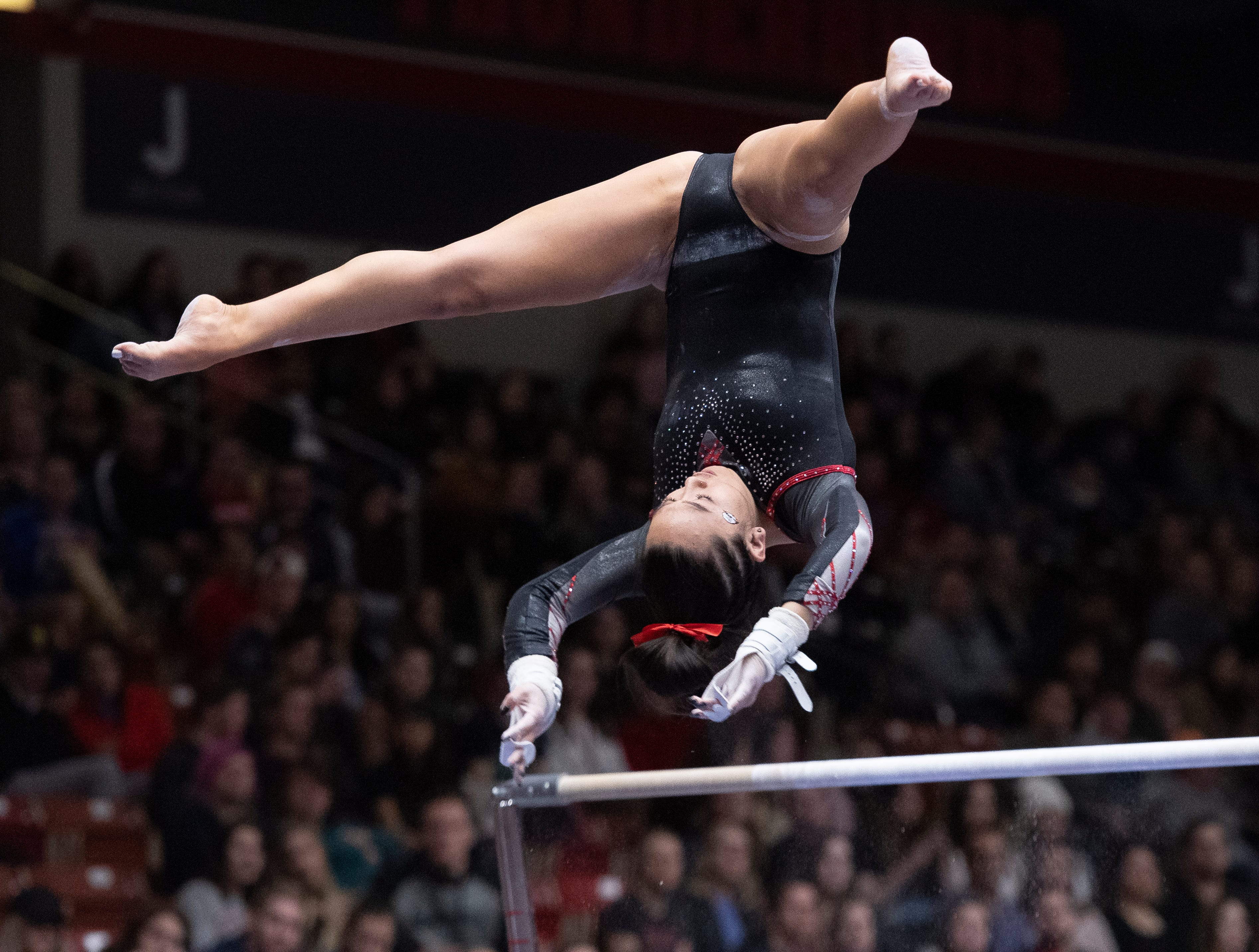 Southern Utah University freshman Shylen Murakami competes against Boise State at the America First Event Center Friday, January 18, 2019.