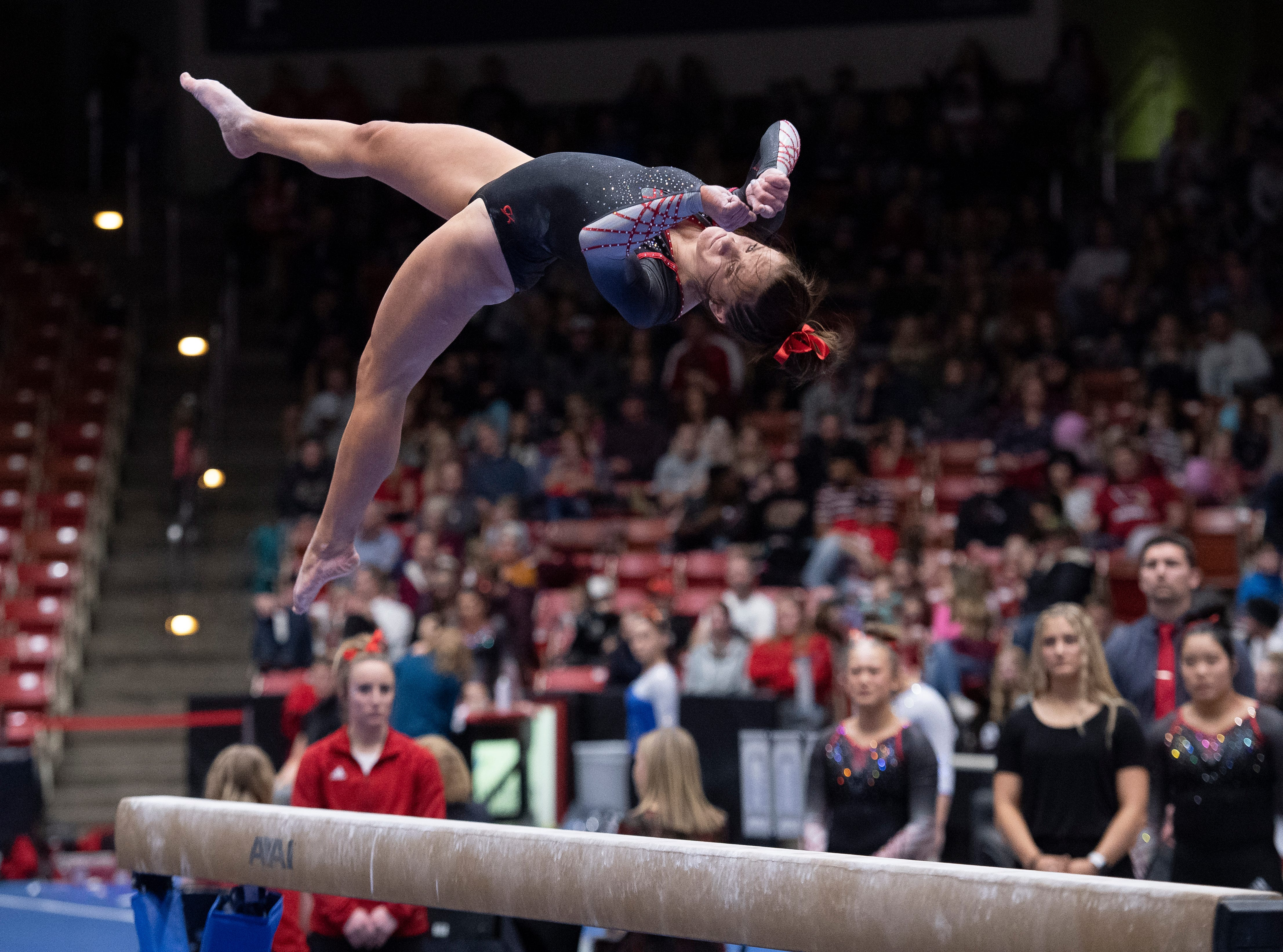 Southern Utah University freshman Emma Wissman competes against Boise State at the America First Event Center Friday, January 18, 2019.