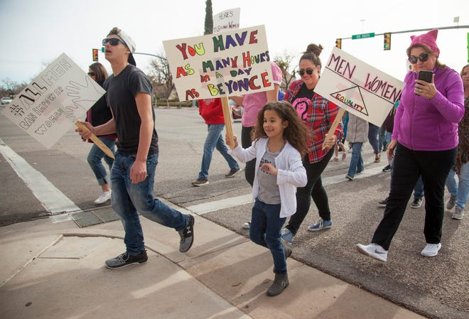 Members of the community participate in the Women's March in St. George on Saturday, Jan. 19, 2019.