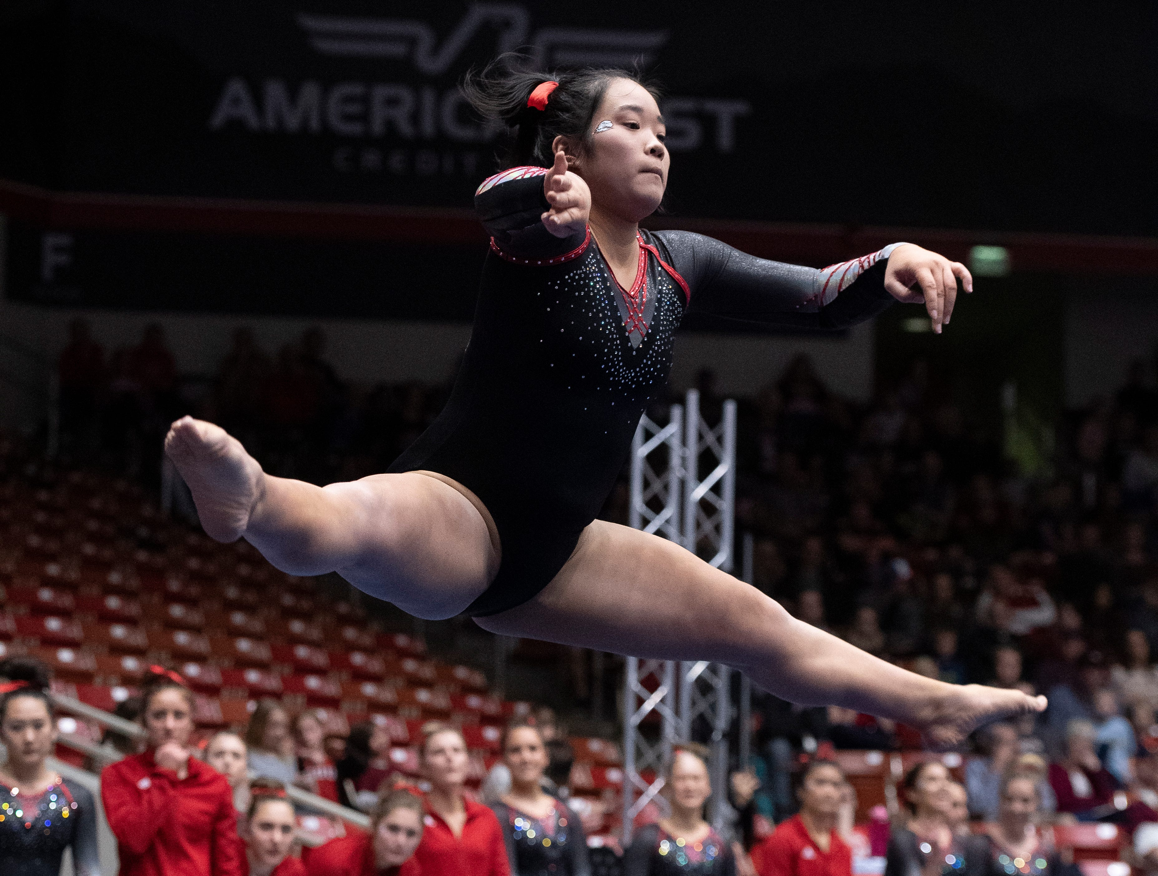 Southern Utah University freshman Caitlin Kho competes against Boise State at the America First Event Center Friday, January 18, 2019.