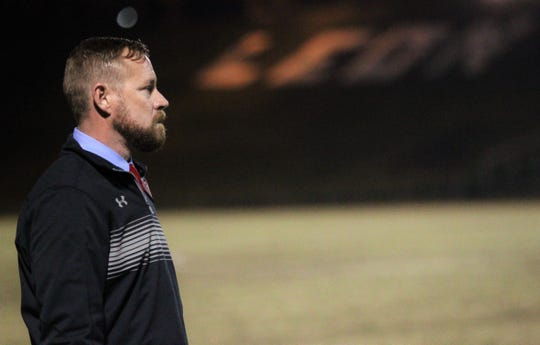 Leon boys soccer coach Jamie McBrearty looks on as Leon beat Gainesville Buchholz 5-2 on Jan. 18, 2019 to improve to 18-0-1 while being ranked No. 1 nationally.