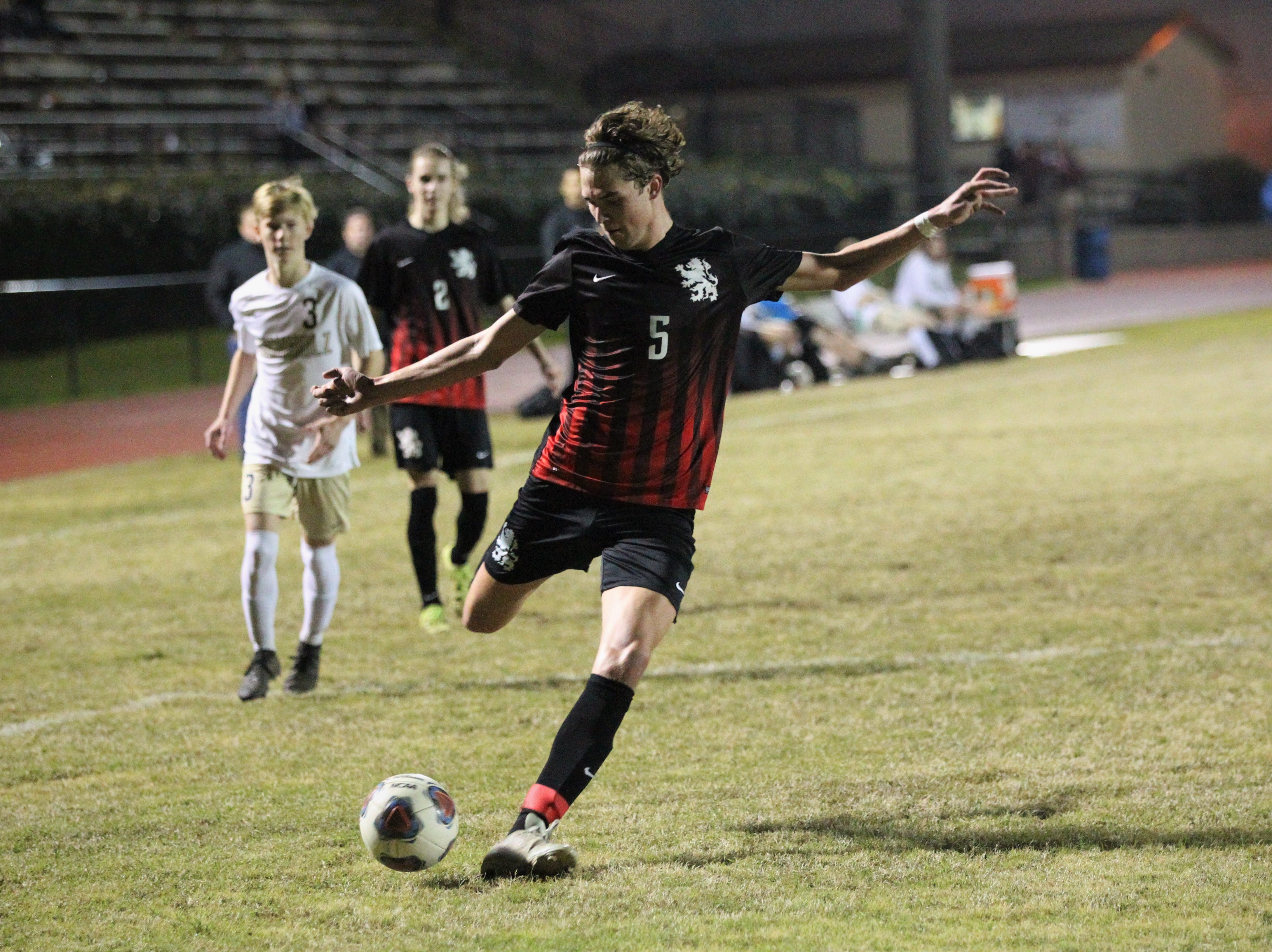Leon's Collins Proctor takes as hot on goal as Leon beat Gainesville Buchholz 5-2 on Jan. 18, 2019 to improve to 18-0-1 while being ranked No. 1 nationally.