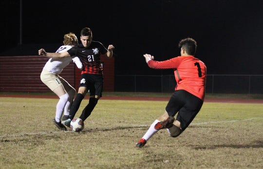 Leons' Nick Jusko one-times home a goal off a pass from Jaden Jones-Riley as Leon beat Gainesville Buchholz 5-2 on Jan. 18, 2019 to improve to 18-0-1 while being ranked No. 1 nationally.