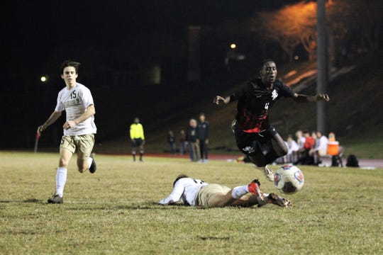 Leon's Ky Peltier is fouled in the box to create a PK attempt as Leon beat Gainesville Buchholz 5-2 on Jan. 18, 2019 to improve to 18-0-1 while being ranked No. 1 nationally.