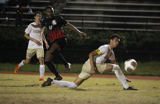 Leon's Jaden Jones-Riley gets off an impossible shot attempt for a far-post goal as Leon beat Gainesville Buchholz 5-2 on Jan. 18, 2019 to improve to 18-0-1 while being ranked No. 1 nationally.
