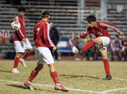 Vero Beach plays against Okeechobee during the high school boys soccer game Friday, Jan. 18, 2019, at Vero Beach High School.