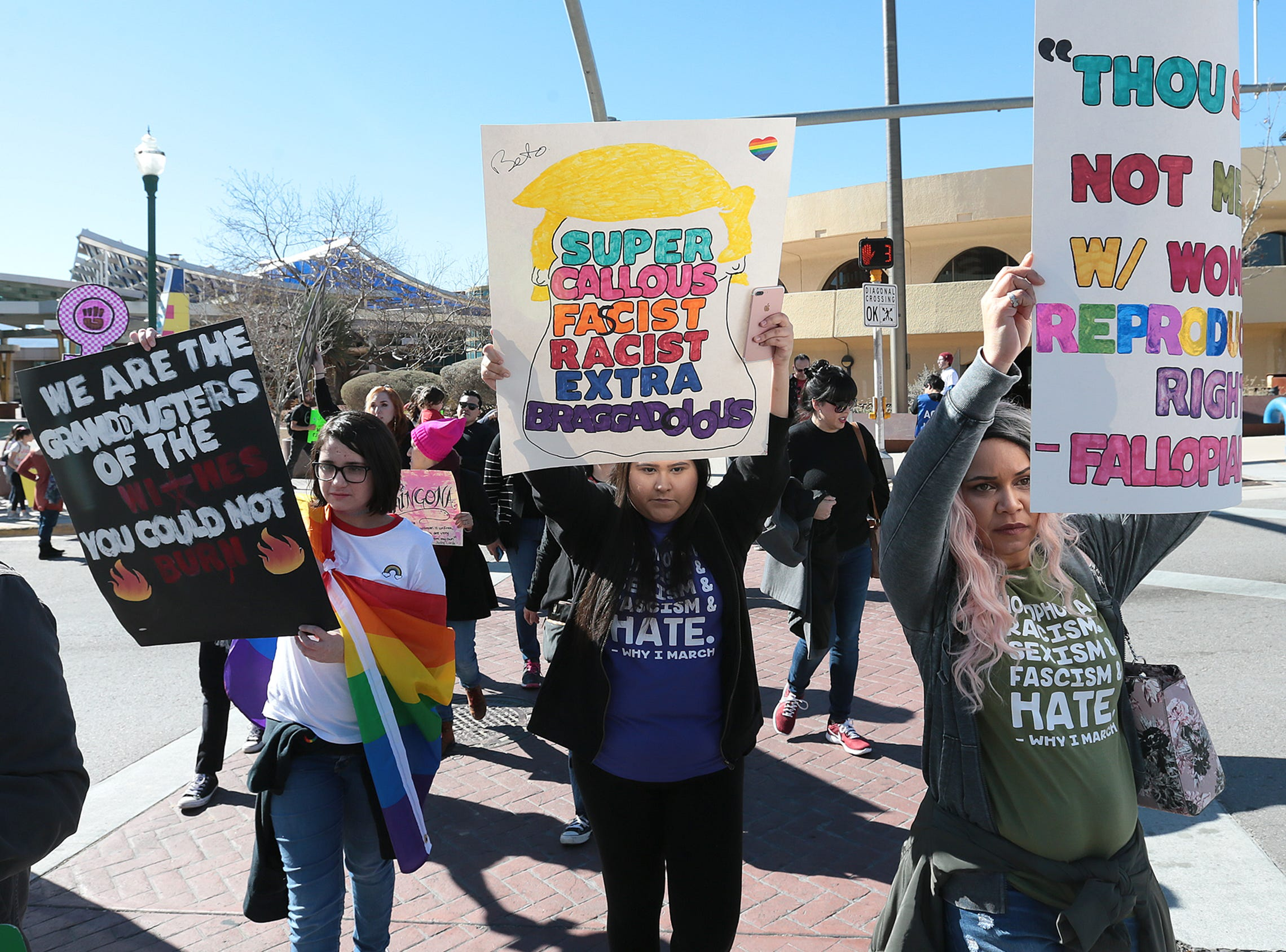 Hundreds attended the Women's March in downtown El Paso Saturday. The march began and finished with a rally at San Jacinto Plaza.