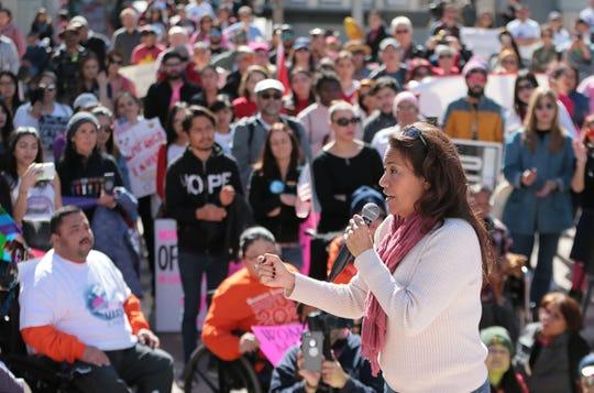 U.S. Rep. Veronica Escobar, D-El Paso, speaks Saturday, Jan. 19, 2019, at the El Paso Women's March in San Jacinto Plaza.
