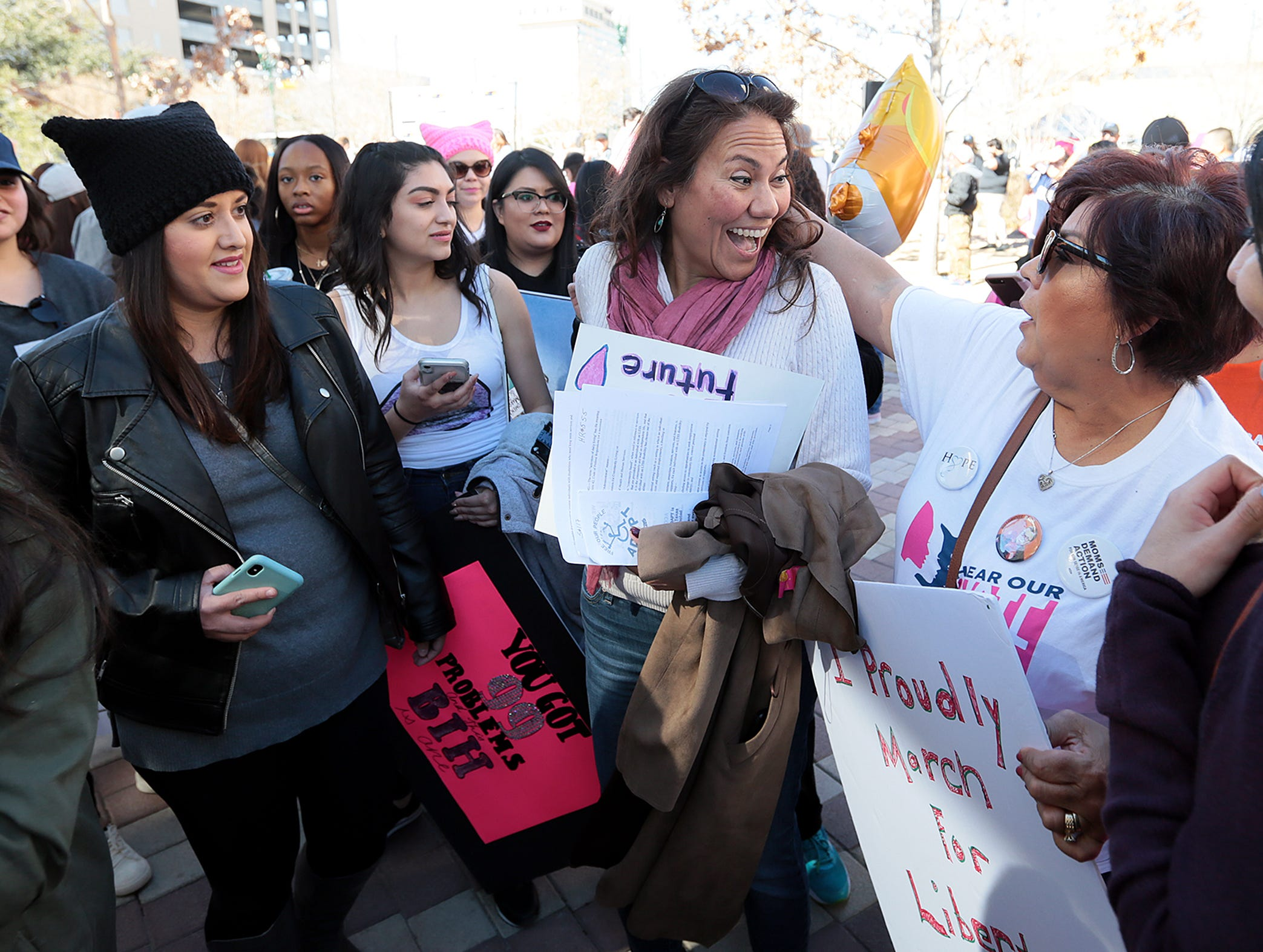 U.S. Rep. Veronica Escobar, D-El Paso, speaks with supporters Saturday, Jan. 19, 2019, during the El Paso Women's March in San Jacinto Plaza.