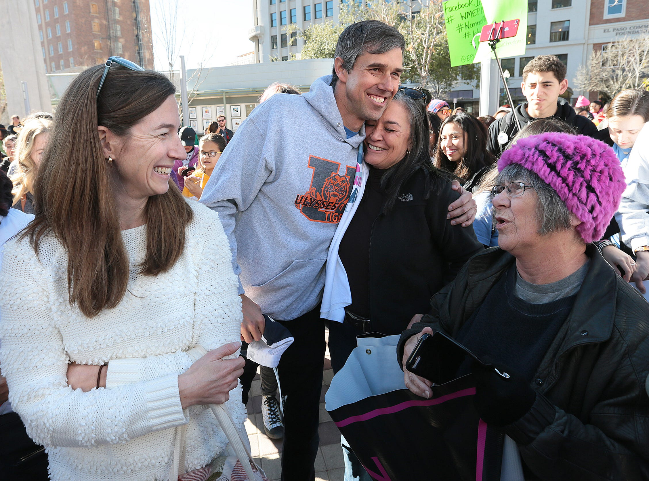Beto O'Rourke attended the El Paso Women's March with his wife Amy Sanders O'Rourke Saturday in downtown El Paso