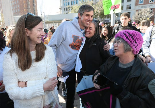 Beto O'Rourke attended the El Paso Women's March with his wife Amy Sanders O'Rourke Saturday in downtown El Paso.