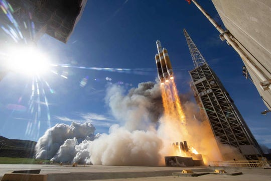United Launch Alliance's Delta IV Heavy rocket took off from Vandenberg Air Force Base late Saturday morning.