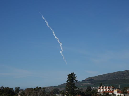 The Delta IV Heavy rocket's contrail was visible above Ventura Saturday morning after a successful launch from Vandenberg Air Force Base.