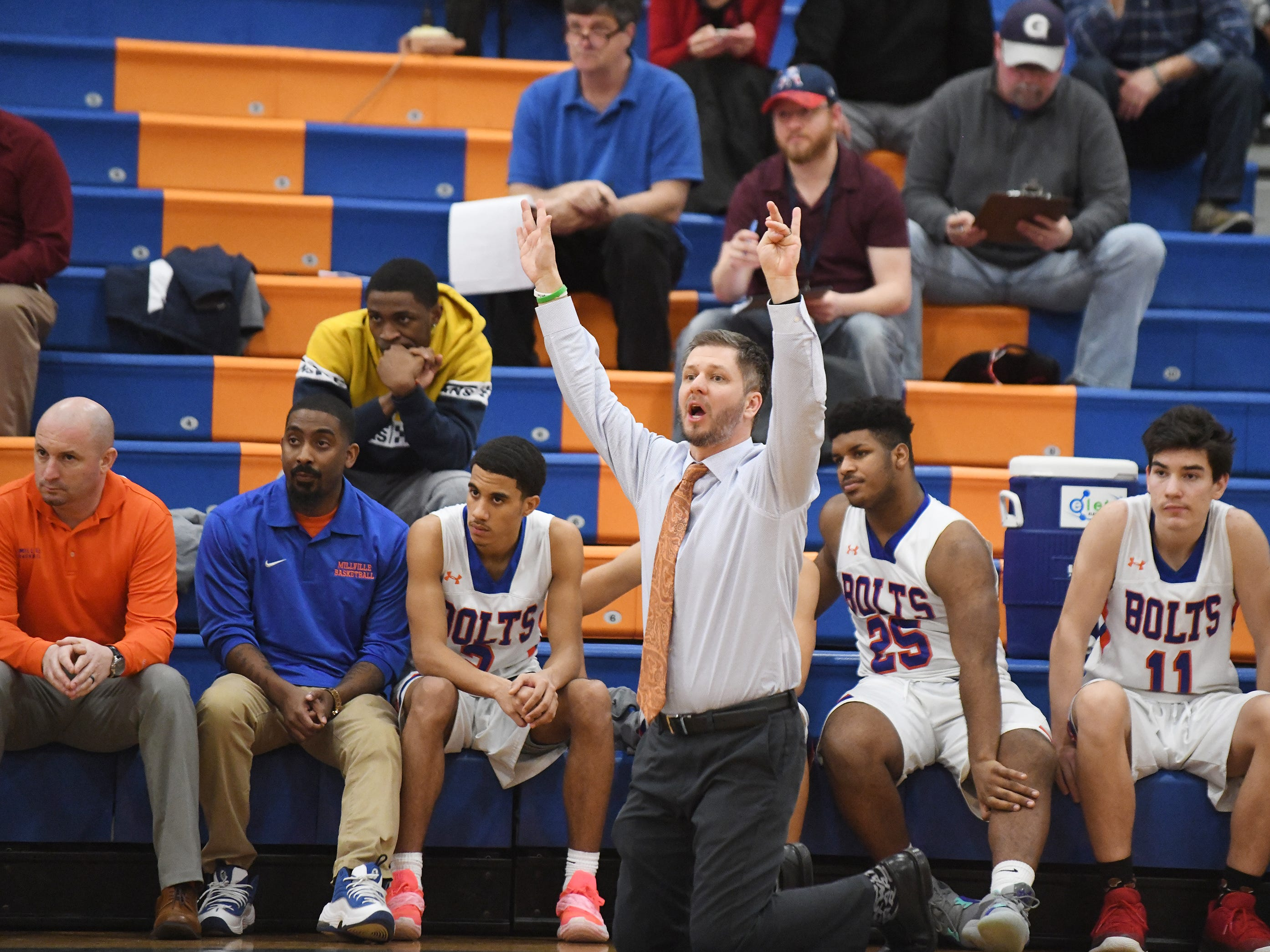 Millville coach Mike Jones reacts to a play during a game against St. Augustine. The Hermits topped the Thunderbolts 66-53 on Friday, Jan. 18, 2019.