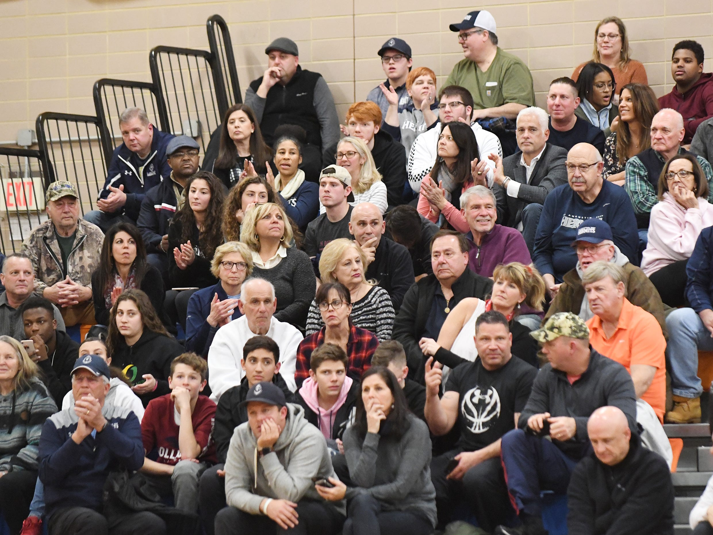 Visiting St. Augustine fans watch a game against Millville. The Hermits topped the Thunderbolts 66-53 on Friday, Jan. 18, 2019.