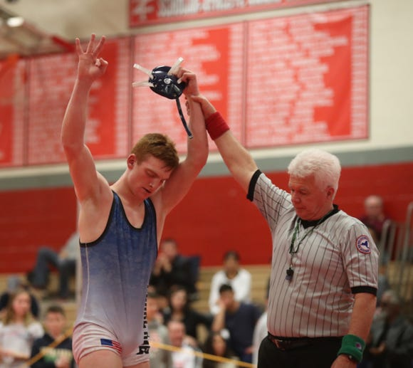 Pearl River's Dylan Urban defeats Clarkstown North's Otto Davidson  in the 160-pound match in the Rockland County Wrestling Championships at Tappan Zee High School in Orangburg on Saturday, January 19, 2019.