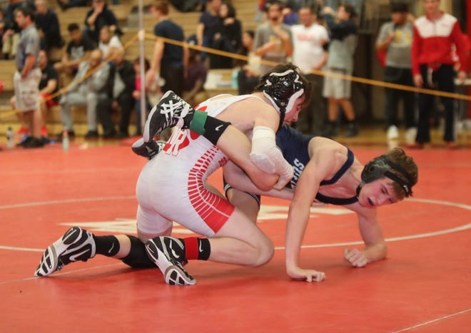 North Rockland's Reece Breyer defeats Suffern's Timmy Dube in the 113-pound match in the Rockland County Wrestling Championships at Tappan Zee High School in Orangburg on Saturday, January 19, 2019.