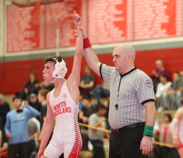 North Rockland's Bobby DePolito defeats Tappan Zee's Ryan Folmer in the 106-pound match in the Rockland County Wrestling Championships at Tappan Zee High School in Orangburg on Saturday, January 19, 2019.